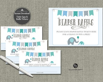 Baby Shower Diaper Raffle | Elephant Blue Green Raffle Ticket | Printable | Instant Download | BAM | BBE-133DR