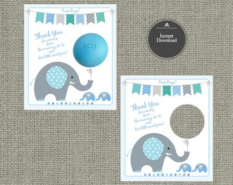 Twin Baby Boy Shower Gift Tags for EOS lip balm gifts | INSTANT DOWNLOAD | Printable Thank You Favor Tags | No. BBE1-eos1