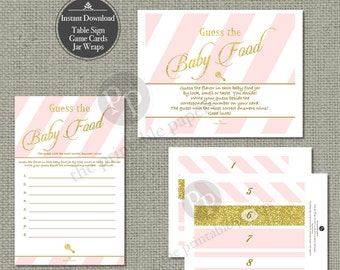 Guess the Baby Food Game | Baby Food Flavor | Instant Download | Pink White Stripe with Gold Glitter Lettering Design | Calligraphy IAG-133P