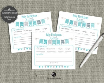 Baby Predictions & Advice for Mom Cards   Baby Shower Game  Teal - Aqua color  Bunting Banner Elephant Design   BBM-133ef TEAL