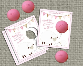 Baby Shower Sheep Gift Tags for EOS lip balm | Thank You Favor Tags | No. SHP-eos