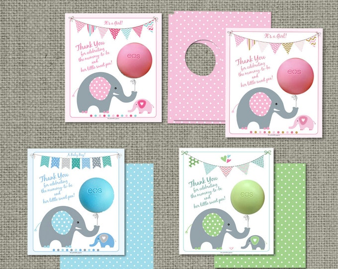 Featured listing image: Printed Baby Shower Gift Tags for EOS lip balm gifts | Thank You Tags | mommy-to-be & her little sweet pea! | 12 Favor Tags | No. PBE2-EOS1