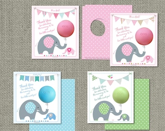 Printed Baby Shower Party Favors for EOS lip balm | Thank You Tags | No. PBE2-EOS1