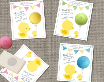 Printable Duck Baby Shower Gift Tags for EOS lip balm |No. DCK-EOS