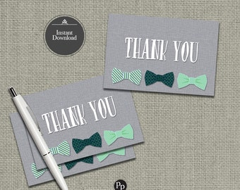 Printable Thank You Card Bow Tie Design | Boy Birthday Thank You Card | Instant Download | Little Man | OLM-THX