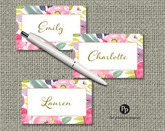 Baby or Bridal Shower Food Tent / Place Card  | Watercolor Spring Floral Design | Instant Download | FLR-133L