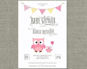 Printable Baby Shower Invitation Card | Digital Download | Owl Pink Balloon Design | Owl Baby Shower | Customize | DIY - No. OWL1-1