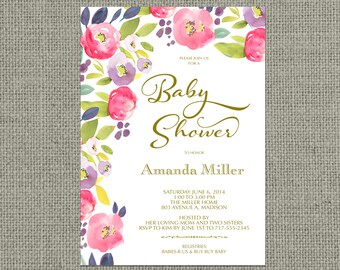 Printable Baby Shower Invitation Card | Digital Download | Watercolor Floral and Calligraphy Design | Customize | DIY - No. FLR2-2