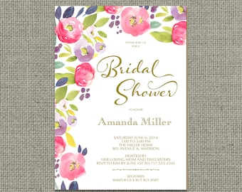 Printable Bridal Shower Invitation Card | Spring Flower | Watercolor Floral and Calligraphy Design | Customize | DIY - No. FLR1-1