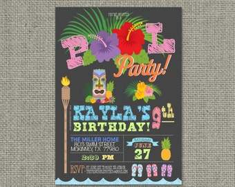 Printable Swim Pool Party Birthday Invitation Card | Pool Tiki | Flip Flops | Hawaiian Luau Design | Digital Download | DIY - No. POL2-2