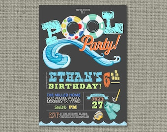 Printable Swim Pool Party Birthday Invitation Card | Pool Floats Scuba Fins Summer Design | Customize | Digital Download | DIY - No. POL1-1