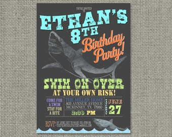 Printable Shark Pool Party Birthday Invitation Card | Pool Sharks Swim Summer Design | Digital Download | DIY - No. SHK1-1