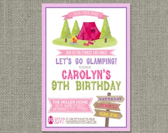Printable Glamping Birthday Party Invitation Card | Digital Download | Tent Camping Backyard Summer Design | Campfire S'mores | DIY - CMP2-2