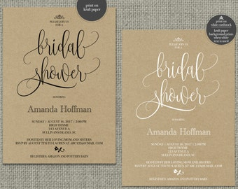 Printable Bridal Shower Invitation Card | Calligraphy Design | Chalkboard, Color or Kraft Paper Design | Customize | DIY - No. KWR1-1