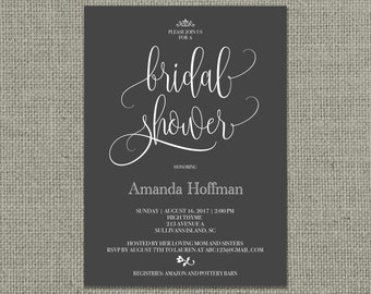 Printable Bridal Shower Invitation Card | Calligraphy Design | Chalkboard, Color or Kraft Paper Design | Digital Download | DIY - No. KWR1-1