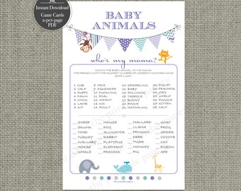 Printable Animal Matching Game  Baby Shower | Baby to Mom Animal  | Purple Teal Bunting Banner Design | Elephant Whale Monkey | BBE5-133B