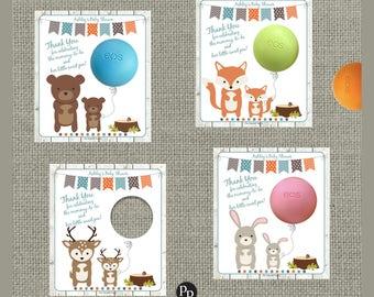 Printable Woodland Animal Baby Shower Gift Tags for EOS lip balm | Bear, Fox, Deer, Bunny Favor Tags | WLN2-EOS
