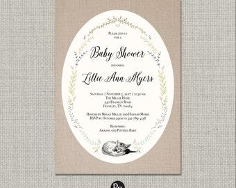 Printable Baby Shower Invitation Card | Digital Download | Sleeping Fox Wreath Design | Linen Baby Shower | Customize | DIY - No. FW1-2