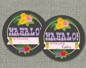 Swim Pool Party Favor Tags | Pool Tiki | Flip Flops | Hawaiian Luau | Round or Square Favors | Digital Download | DIY - No. POL1-133K