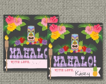 Tiki Pool Mahalo Party Birthday Favor Tags | INSTANT DOWNLOAD | Hawaiian Luau | Square Party Favor Tags | DIY - No. POL3-133K