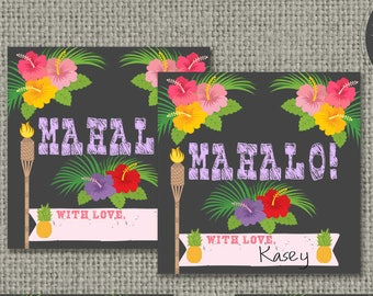 Swim Pool Mahalo Party Birthday Favor Tags | INSTANT DOWNLOAD | Hawaiian Luau | Square Party Favor Tags | DIY - No. POL2-133K