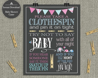 "Printable  Boy/Girl TWINS ""Clothespin "" Baby Shower Game 