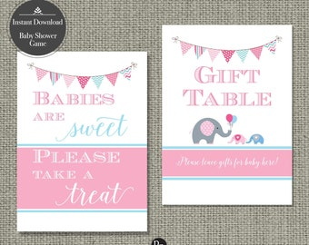 Boy/Girl TWINS Baby Shower Table Signs  5x7"