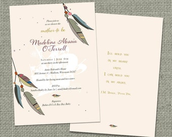 Printable Baby Shower Invitation | Peter Pan Neverland | Feathers Arrows Neverland Theme Typography | NVR-1