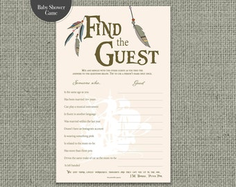 """Printable  """"Find the Guest"""" Baby Shower Game 