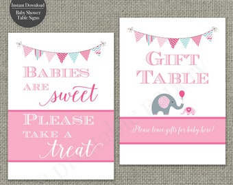Baby Shower Table Signs  5x7"