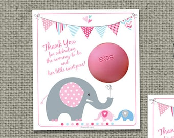 Twin Boy/Girl Baby Shower Gift Tags for EOS lip balm | INSTANT DOWNLOAD | Thank You Favor Tags | No. bbeT-eos