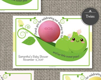 Multiples: Twins, Triplets, Quads Pea Pod / Baby Shower Favors for EOS lip balm | PEA-EOS