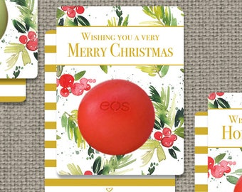 Printed Holiday Christmas Favors for EOS lip balm | Christmas Cards | Watercolor eos tags | Favor Tags| No. MCT-EOS