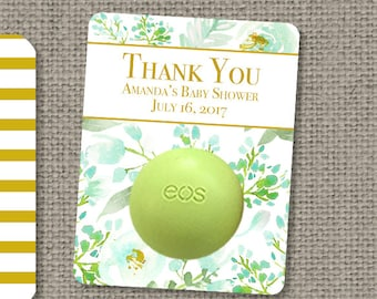 Printed Bridal or Baby Shower Floral Watercolor Party Favors for EOS lip balm   Thank You Floral tags   12 Favor Tags  No. P-FLB-EOS