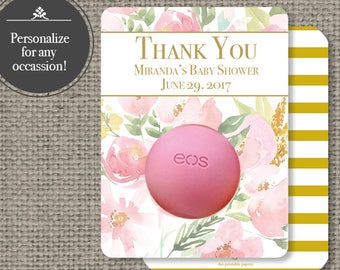 Printed Bridal or Baby Shower Floral Watercolor Party Favors for EOS lip balm | 12 Floral eos tags | No. P-FLR3-EOS