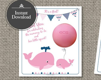 Baby Shower Gift Tags for EOS lip balm gifts | Instant Download | Thank You Tags | WHL2-EOS