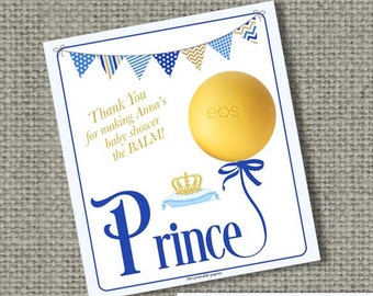 Printable Personalized Prince Baby Shower Gift Tags for EOS lip balm | No. PRN2-EOS