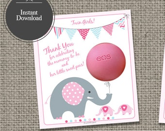 Twin Baby Shower Gift Tags for EOS lip balm gifts | INSTANT DOWNLOAD | BBE2T-EOS1