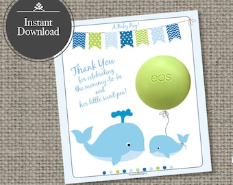 Baby Shower Gift Tags for EOS lip balm gifts   INSTANT DOWNLOAD   Thank You Favor Tags  No. WHL-EOS