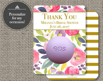 Printed Bridal or Baby Shower Floral Watercolor Party Favors for EOS lip balm   Thank You Tags   Floral eos tags   Favor Tags  No. P-FLR-EOS