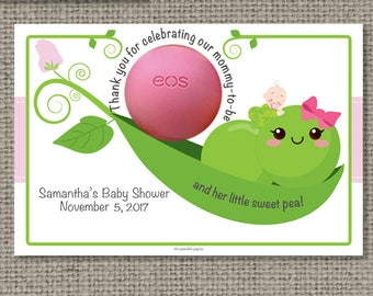 Pea Pod / Sweet Pea(s) Baby Shower Favors for EOS lip balm | Thank You Favor Tags | No. PEA-EOS