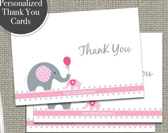 Personalized Thank You Card for Baby Shower | Printable | Elephant Balloon Design | BBE22-THX