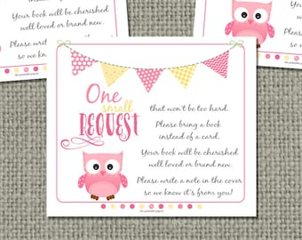 Printable Book Request for Baby Shower | INSTANT DOWNLOAD |No. OWL1-133br