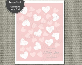 Printable Baby Shower Alternative Guest Book | Hearts | Hearts and Calligraphy Design | Customize | DIY - No. HS1-1