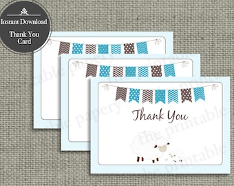 Printable Book Thank You Card for Baby Shower | Sheep Bunting Banner Typography Design | SHP1-thx