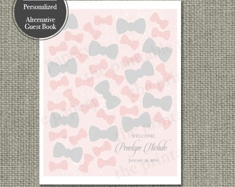 Printable Baby Shower Alternative Guest Book | Bows | Bows and Calligraphy Design | Customize | DIY - No. HS1-1