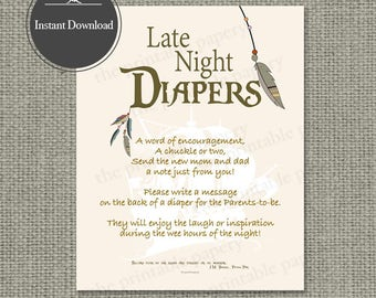 """Printable  """"Late Night Diapers"""" Baby Shower Activity 