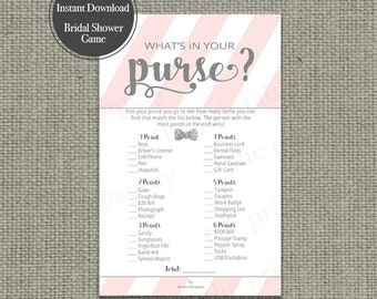 "Printable  ""What's in Your Purse?"" Bridal Shower Game 