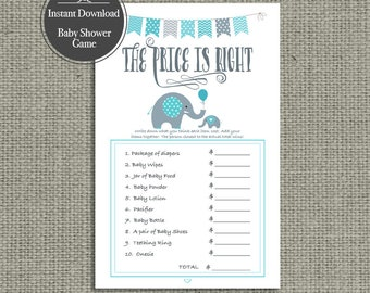 The Price is Right Shower Game | Baby Shower Game | Elephant Teal Design | BBE1-133H TEAL