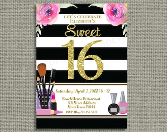 Printable Sweet 16 | Black White Stripes Gold Glitter Birthday Invitation | Stripe Gold Glitter Design | Digital Download | DIY - No. S16-1